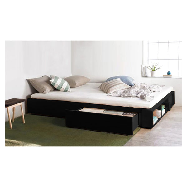 Solid MDF Wood Storage Bed Super King without Mattress Black