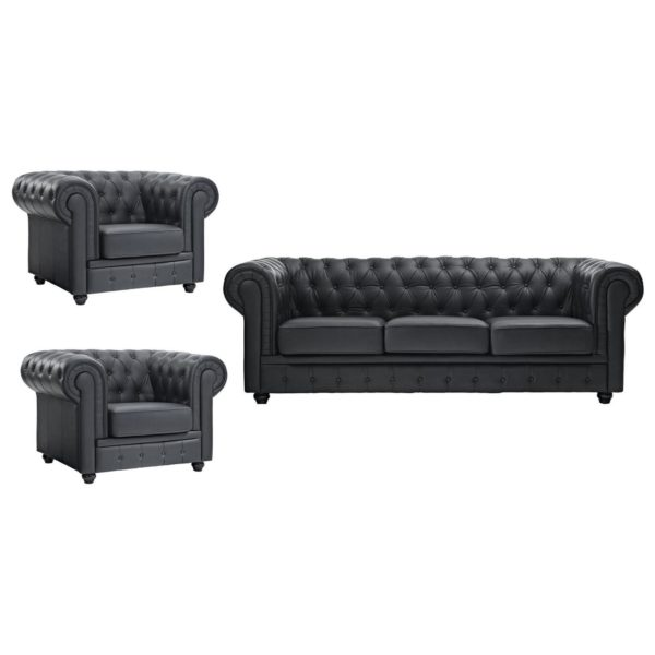 Ingles Sofa Sets 5 - Seater ( 3+1+1 ) in Black Color