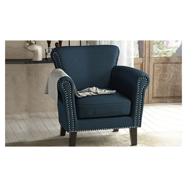 Brice Vintage Scroll Arm Studded Fabric Club Chair Blue