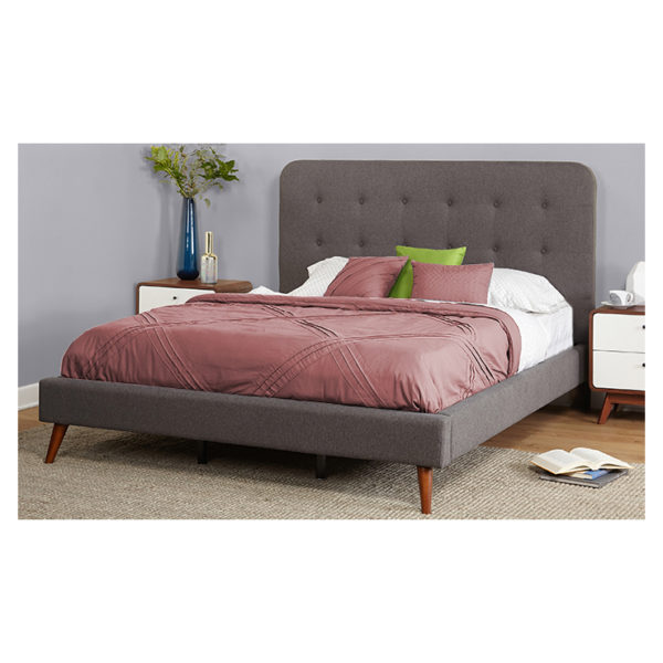 Garbo Mid Century Upholstered Queen Bed without Mattress Grey