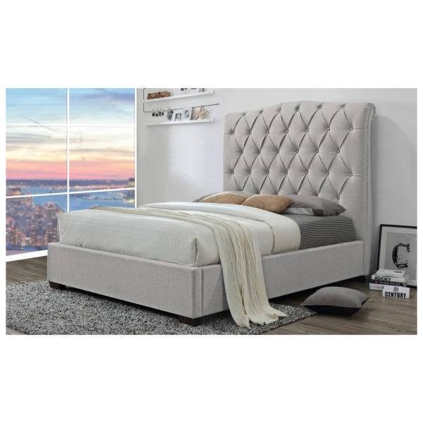Shannon Upholstered Platform Bed King without Mattress Light Beige