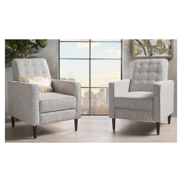 Atoz Mervynn Mid Century Fabric Recliner Club Chairs Set Of 2 Light Grey