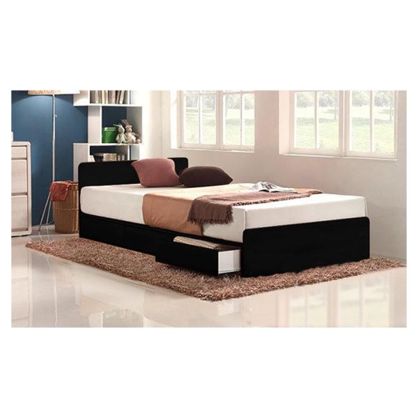 Three-Drawer Storage Single Bed With Mattress Black