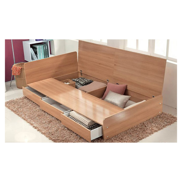 Three-Drawer Storage Queen Bed Without Mattress Beige