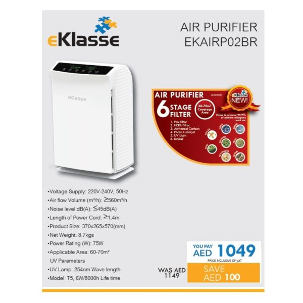 Eklasse EKAIRP02BR Air Purifier With HEPA Filter
