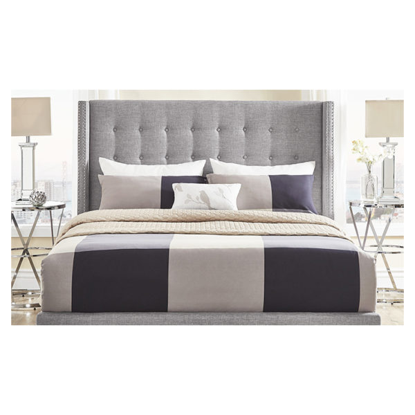 Melina Tufted Linen Wingback Queen Bed with Mattress Grey