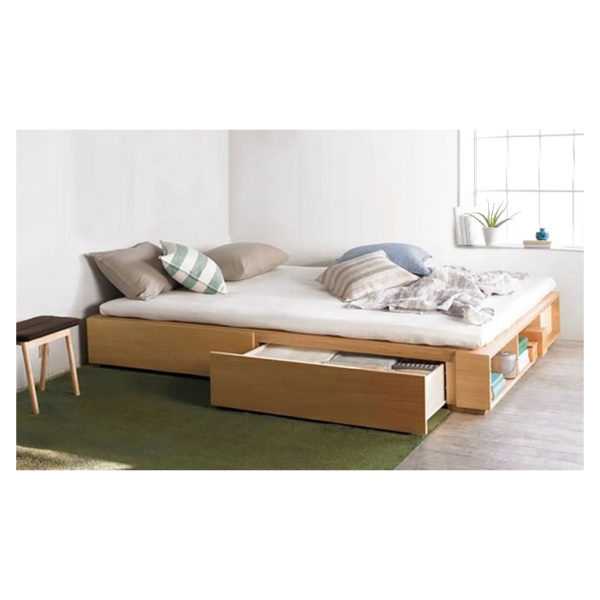 Solid MDF Wood Storage Bed Super King without Mattress Beige