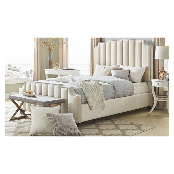 Chareau Velvet Upholstered Nailhead King Bed without Mattress Beige