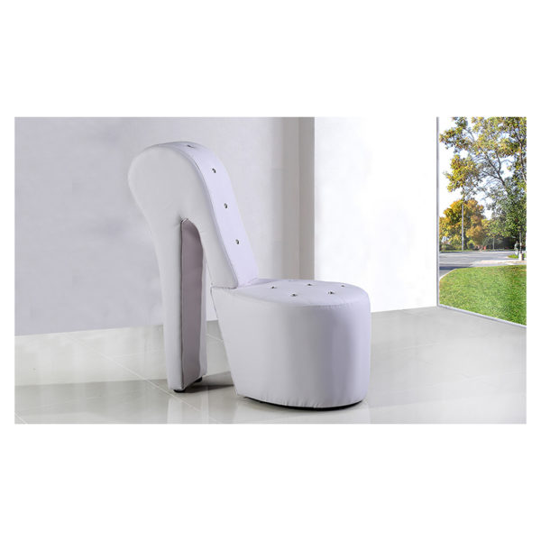 High Heel Leather Shoe Cabinet Lounge Chair White