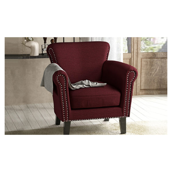 Brice Vintage Scroll Arm Studded Fabric Club Chair Red