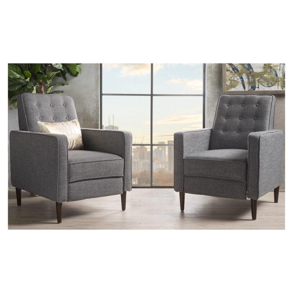 Mervynn Mid-Century Fabric Recliner Club Chairs (Set of 2) Dark Grey