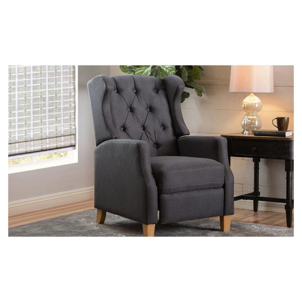 Grantham Fabric Tufted Club Chair Charcoal Grey
