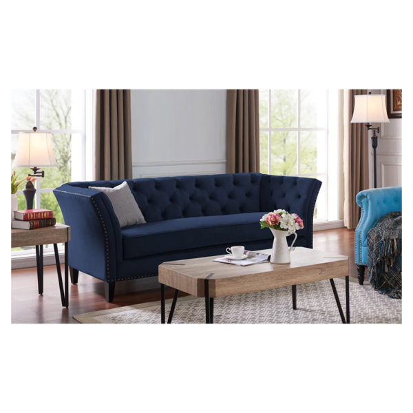 Gilmore Chesterfield Sofa in Navy Blue Color