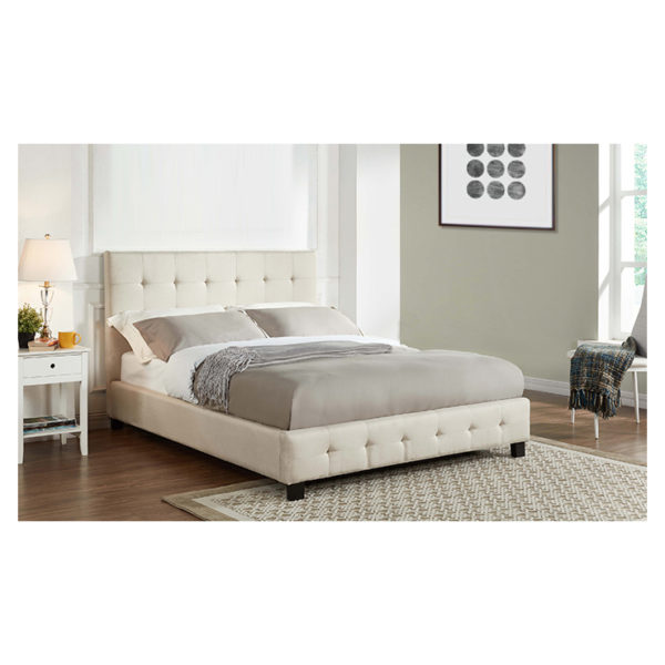 Cream Upholstered Blind Tufted King Bed Without Mattress Beige