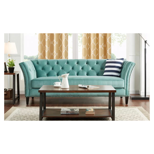Gilmore Chesterfield Sofa in Turquoise Blue Color