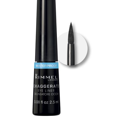 Rimmel London 86003 Exaggerate Waterproof Liquid Eyeliner Black A Black Shade with A glossy Finish