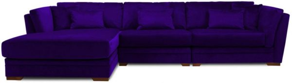 Galaxy Design Velvet Series Long Beach L Shaped Sofa Wood Base Purple