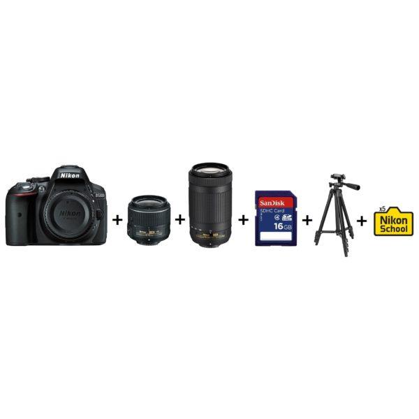 Nikon D5300 DSLR Camera Black + AF-P 18-55mm VR Lens + AF-P 70-300mm Lens + 16GB SD Card + Tripod + 5x NikonSchool