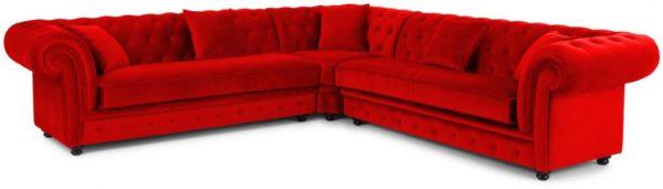 Galaxy Design Haddo Velvet Corner Sofa Dark Red
