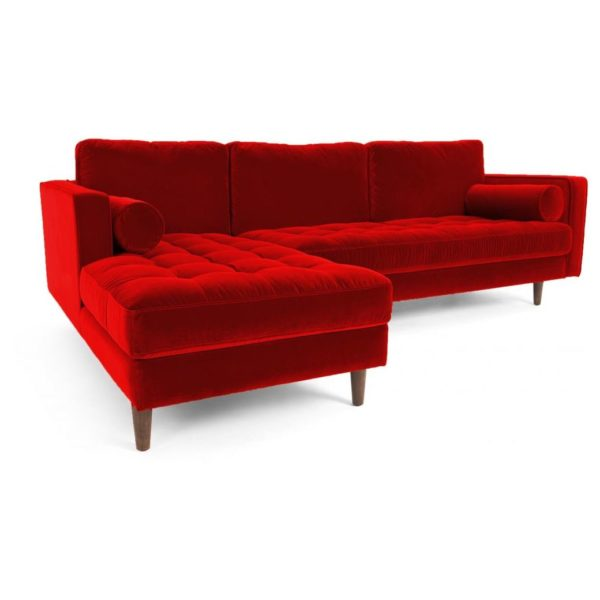 Galaxy Design Velvet Series Scott L Shape Sofa Red