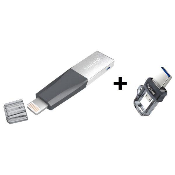30fcc00e7 Sandisk SDIX40N128GGN6NE IXpand Mini Flash Drive 128GB + Sandisk  SDDD3064GG46 Ultra Dual Drive USB Flash Drive