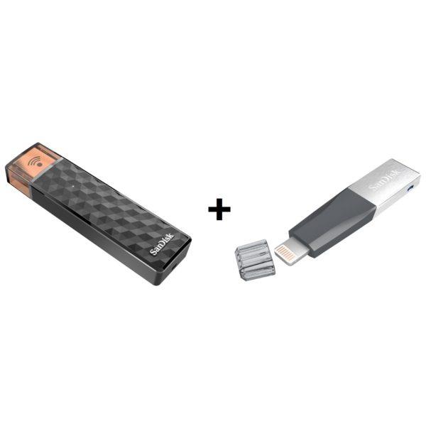 3933661ae Sandisk SDWS4128GG46 Connect Wireless Flash Drive 128GB + Sandisk Ixpand Mini  Flash Drive 64GB SDIX40N064GGN6NN