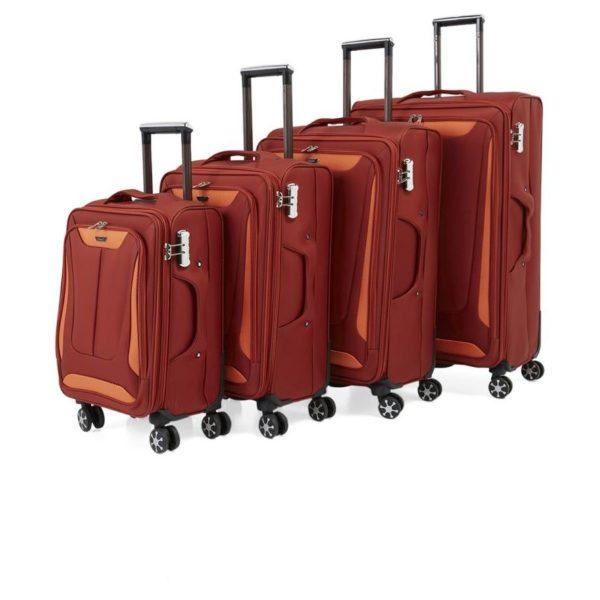 3fe177381 Buy Senator Soft Spinner Trolley Luggage Bag Orange 4Pc Set X28 ...