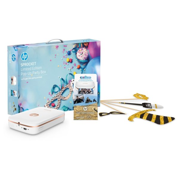 HP Sprocket Party Prop (Z3Z91 Bluetooth Photo Printer White + 1RF43A 50 Sheet Zink Paper)