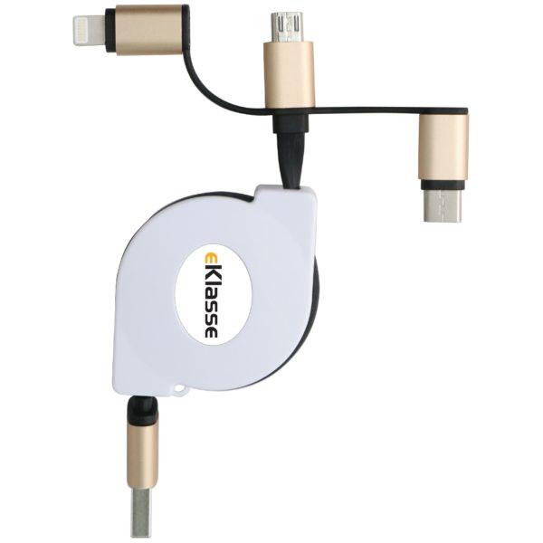 Eklasse USB Retractable 3IN1 Cable 1m - EK3IN103FT
