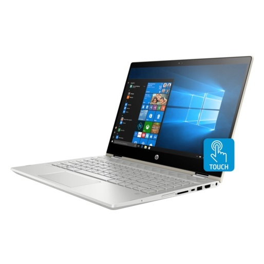 HP Pavilion x360 14-CD1004NE Convertible Touch Laptop - Core i5 1.6GHz 8GB 1TB+128GB 2GB Win10 14inch FHD Pale Gold