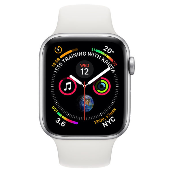 Apple Apple Watch Series 4 GPS 44mm Silver Aluminium Case With White Sport Band