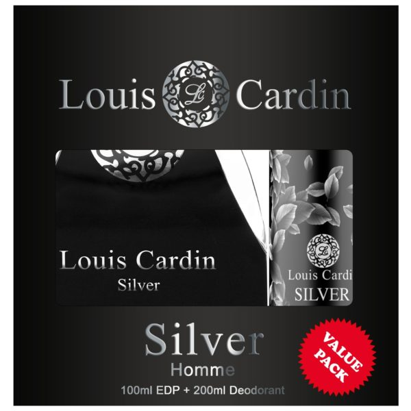 Louis Cardin Silver Gift Set For Men (Louis Cardin Silver 100ml EDP + Louis Cardin Silver 200ml Deodorant)