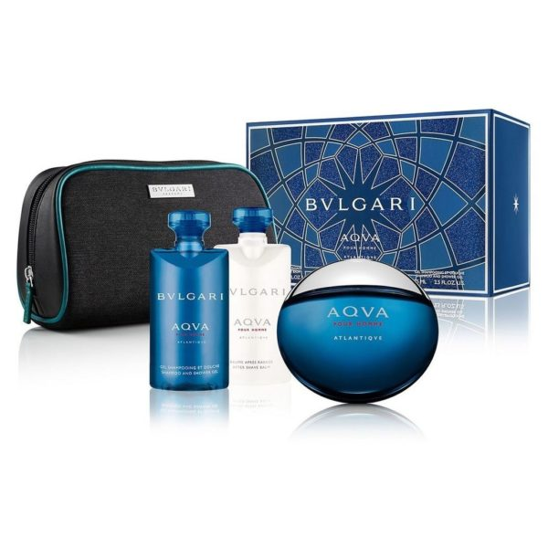 Bvlgari Aqva Pour Homme Atlantique Gift Set For Women (Bvlgari Aqva Pour Homme Atlantique 100ml EDT + Shampoo & Shower Gel 75ml + After Shave Balm 75ml + Cosmetic Bag)