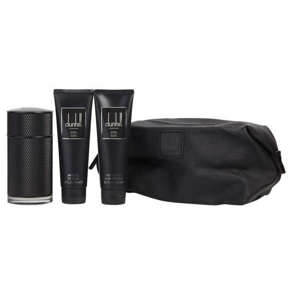 Dunhill Icon Elite Gift Set For Men (Dunhill Icon Elite 100ml EDP + 90ml Shower Gel + 90ml After Shave Balm + Bag)