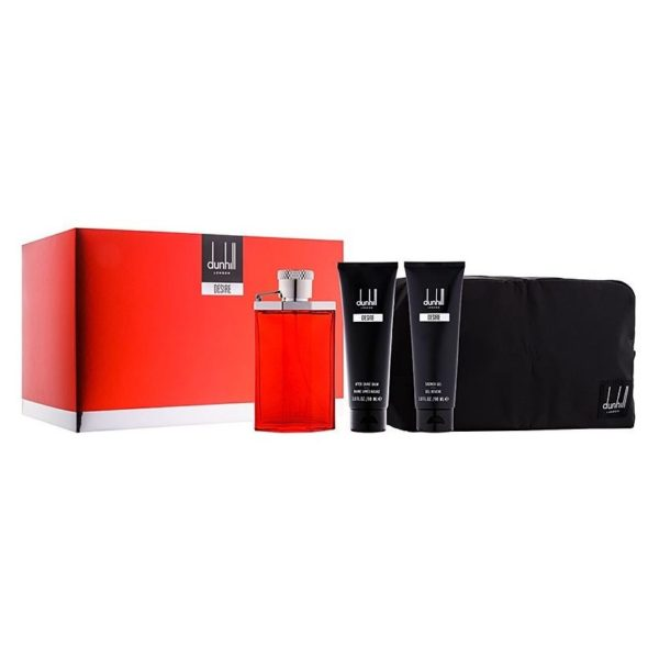 Dunhill Desire Red Gift Set For Men (Dunhill Desire Red 100ml EDT + 90ml Shower Gel + 90ml After Shave Balm + Bag)