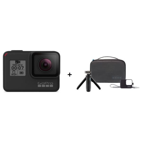 GoPro HERO7 Black Action Camera + Travel Kit (Shorty + Bag + Sleeve)