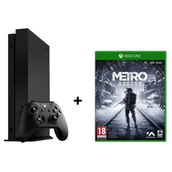 Microsoft Xbox One X Gaming Console 1TB Black + Metro Exodus DLC Game