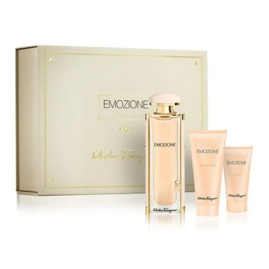 Salvatore Ferragamo Emozione Gift Set For Women (Salvatore Ferragamo Emozione 90ml EDP + 50ml Body Lotion + 100ml Shower Gel)