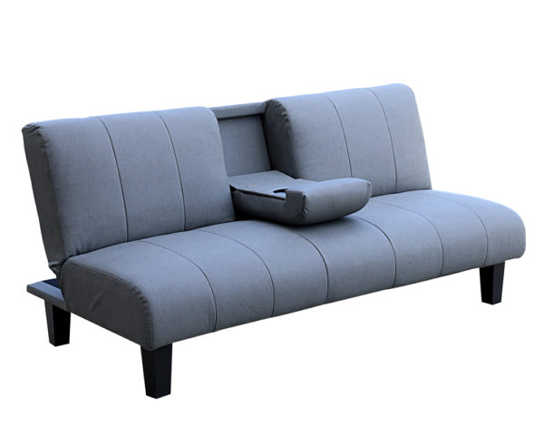 Laze 3 Seater SofaBed Grey With Cup Holder