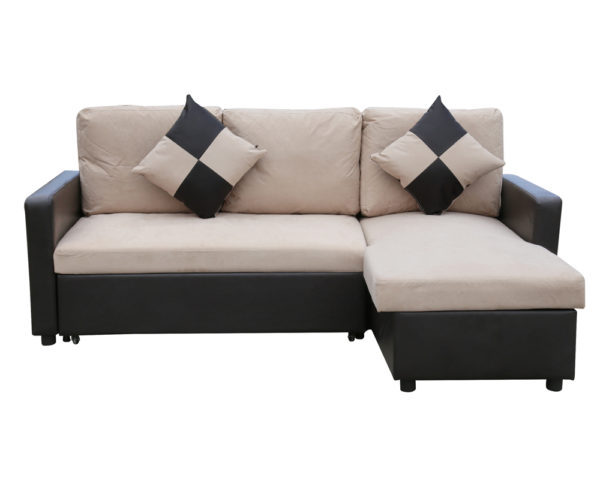 Capri Corner SofaBed with Pull Out Storage Biege