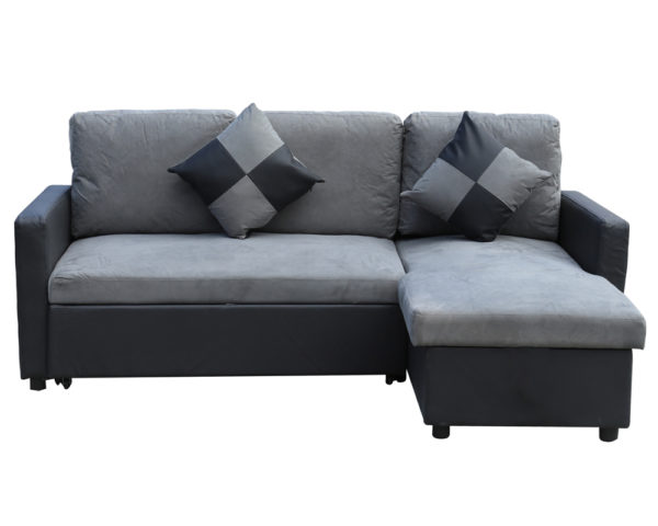 Capri Corner Sofa W Pull Out Sofabed & Storage Grey