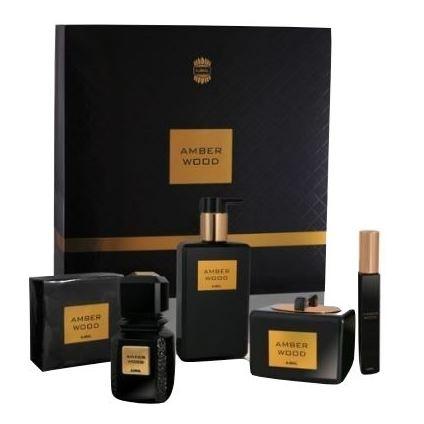 Ajmal Amber Wood Gift Set For Unisex (Amber Wood 50ml EDP + 200ml Body Butter + 50g Soap + 200g Shower Gel + 8ml Hair Perfume)