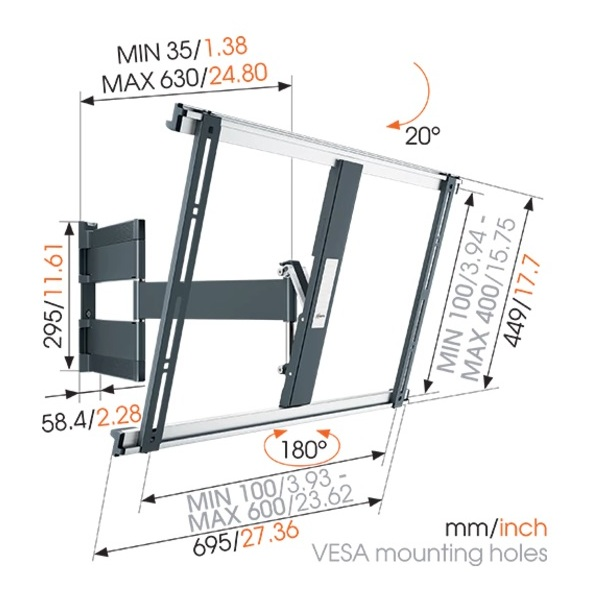 Vogel Extra Thin Full Motion TV Wall Mount 40-65inch Black THIN545