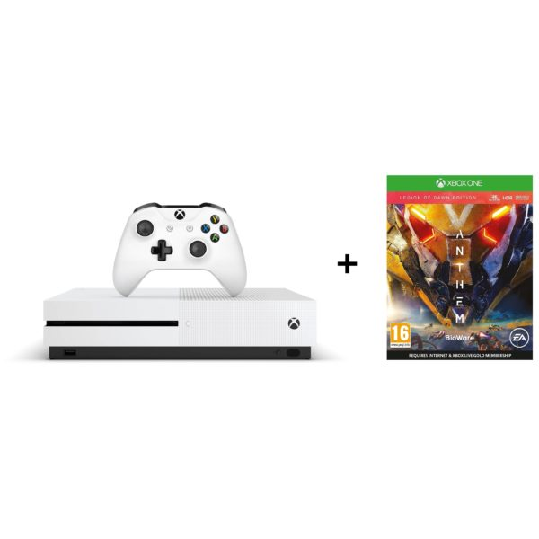 Microsoft Xbox One S Gaming Console 1TB White + Anthem Legion of Dawn Edition DLC Game