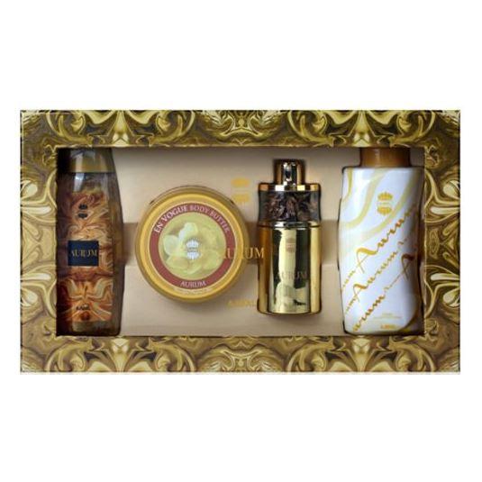 Ajmal Aurum Gift Set For Women (Aurum Spray 75ml EDP + 200g Body Butter + 200ml Shower Gel + 100g Aurum Powder)