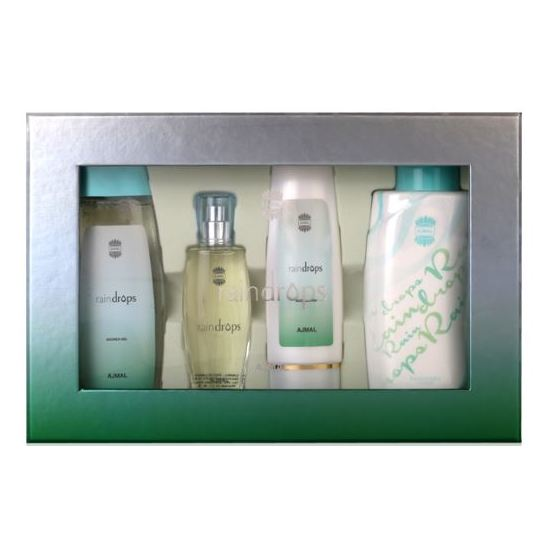 Ajmal Raindrops Gift Set For Women (Raindrops Spray 50ml EDP + 100ml Body Lotion + 200ml Shower Gel + 100gm Powder)