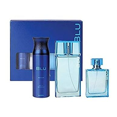 Ajmal Blu Gift Set For Men (BLU 90ml Cologne + BLU 200ml Deodorant + BLU Spray 90ml EDP)