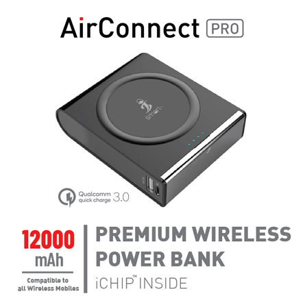 Smart Air Connect Pro Wireless Charger 12000mAh - Black