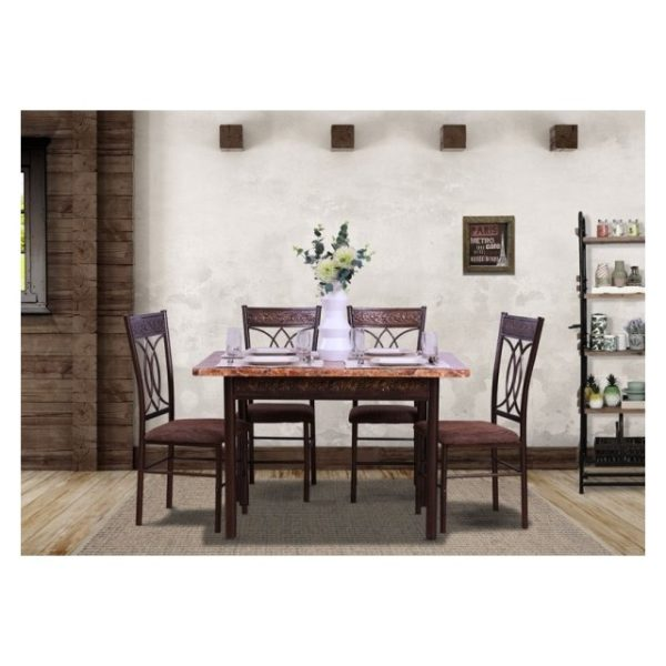 Pan Emirates Spenio Dining Set (1+4) Brown