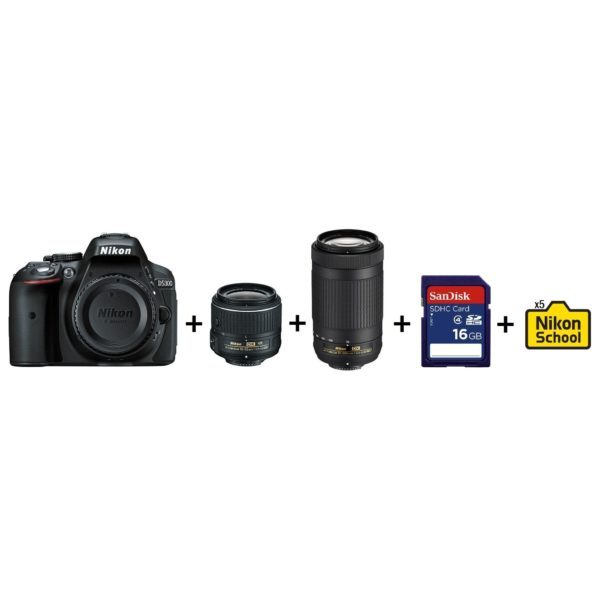 Nikon D5300 DSLR Camera Black + AF-P 18-55mm VR Lens + AF-P 70-300mm Lens + 16GB SD Card + 5x NikonSchool
